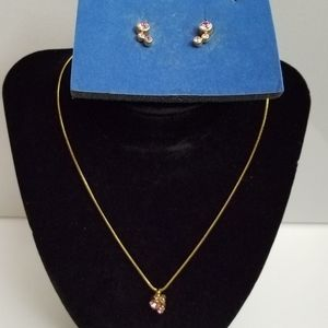 Avon Gold and Pink Stone Necklace  and Earrings